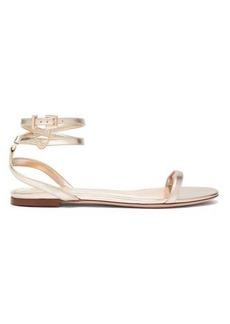 Valentino Chain-embellished metallic-leather flat sandals