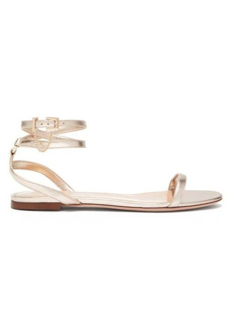 Valentino Chain-embellished metallic-leather flat sandals