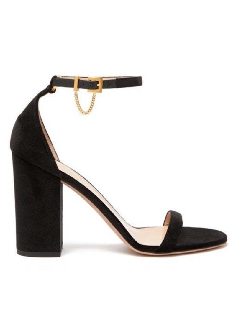 Valentino Chain-embellished velvet sandals