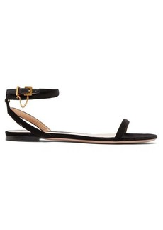 Valentino Chain-embellished wrap velvet sandals