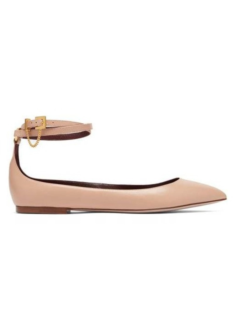 Valentino Chain-strap point-toe leather flats