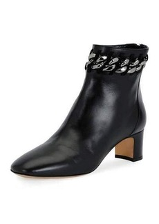 Valentino Chain-Trim Leather Bootie