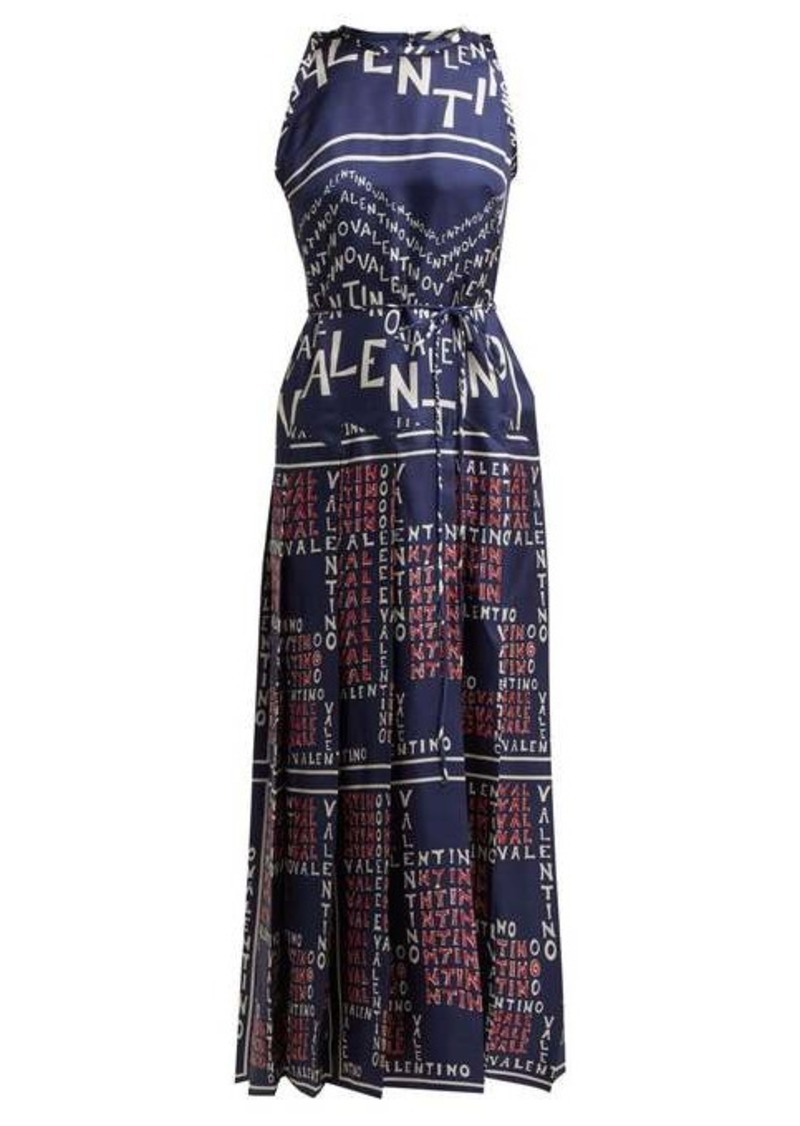 Valentino Chevron and Puzzle-print silk gown