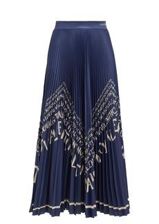 Valentino Chevron logo-print pleated satin skirt
