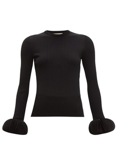 Valentino Chiffon-trimmed ribbed-knit sweater
