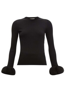 Valentino Chiffon-trimmed ribbed-knit sweater