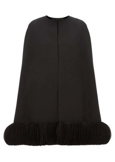Valentino Chiffon-trimmed wool-blend crepe cape