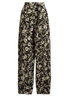 Valentino Circle Flower-print crepe de Chine trousers