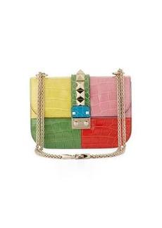 Valentino Colorblock Rockstud Crocodile Shoulder Bag