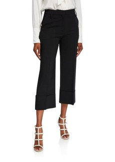 Valentino Comfort Crepe Pleated-Front Crop Pants