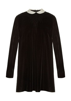 Valentino Contrast-collar smocked velvet dress