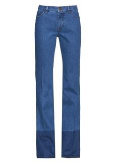 Valentino Contrast-hem high-rise straight-leg jeans