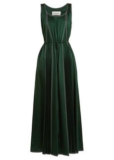 Valentino Contrast-stitch hammered-satin dress