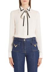 Valentino Contrast Trim Silk Georgette Tie Neck Blouse