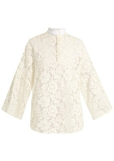 Valentino Contrasting-collar cotton-blend lace blouse