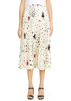 Valentino Cosmo Print Pleated Silk Midi Skirt