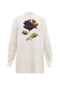 Valentino Cosmos Rose-print silk-georgette blouse
