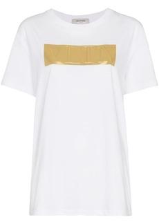Valentino Gold Logo Print Crew Neck Cotton T-shirt