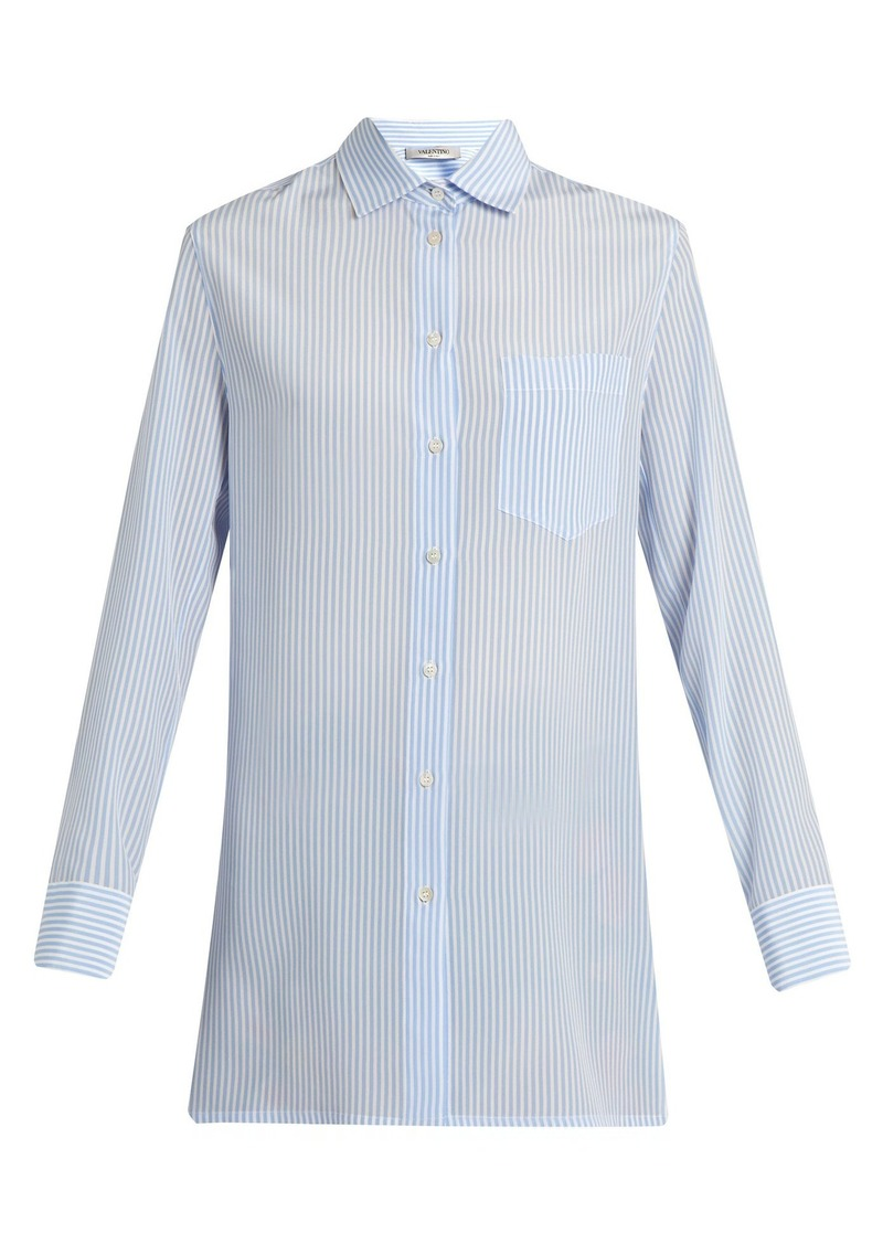 Valentino Cowl-back striped silk shirt