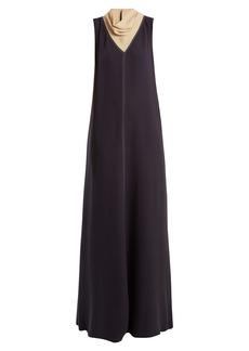 Valentino Cowl-neck contrast-stitch silk-cady gown