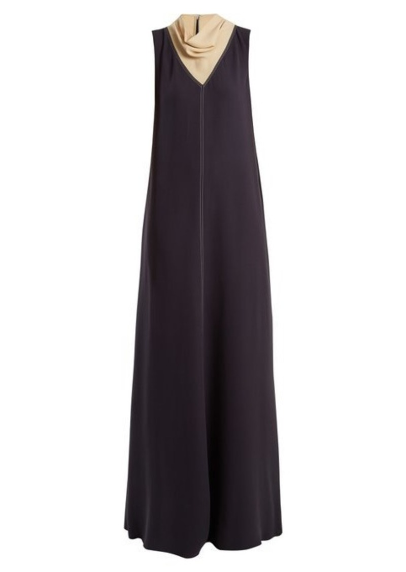 Valentino Cowl-neck contrast-stitch silk-cady gown