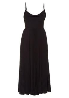 Valentino Cowl-neck silk-georgette pleated midi dress