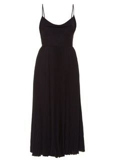 Valentino Cowl-neck silk-georgette pleated midi dress