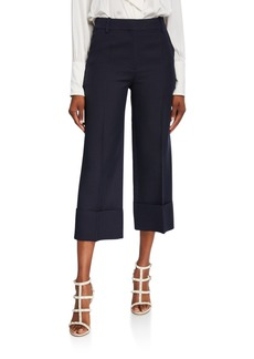 Valentino Crepe Couture Pleated-Front Crop Pants