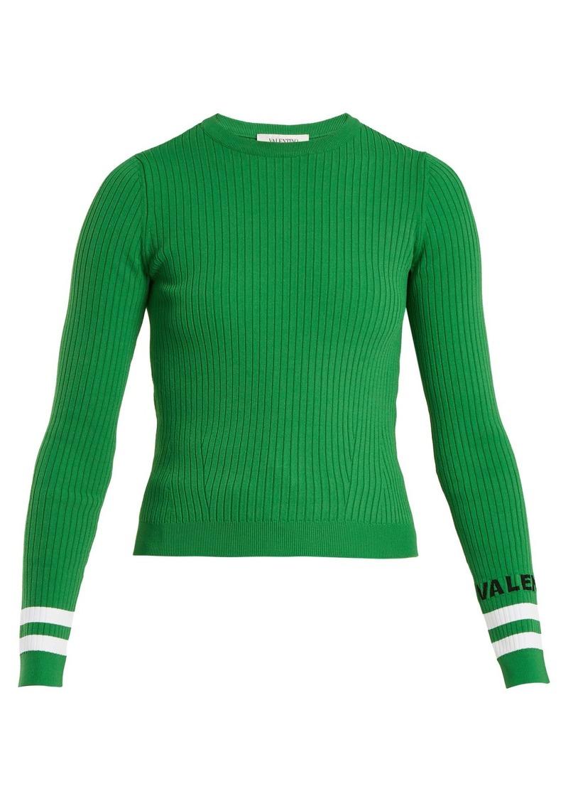 Valentino Crew-neck ribbed-knit sweater