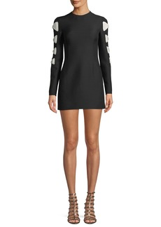 Crewneck Long-Sleeve Fitted Dress w/ Bow Detail