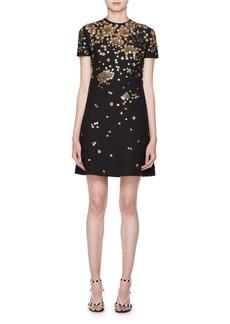 Valentino Crewneck Short-Sleeve A-Line Dress w/ Floral Paillettes