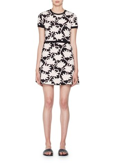Valentino Crewneck Short-Sleeve Jacquard Knit Dress