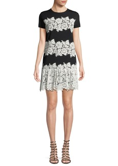 Valentino Crewneck Short-Sleeve Lace Stretch-Viscose Short Dress