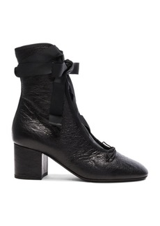 Valentino Crinkled Leather Ballet Booties
