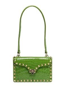 Valentino Croc-Embossed Patent Leather Shoulder Bag