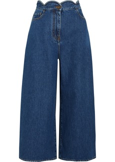 Valentino Cropped scalloped high-rise wide-leg jeans