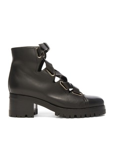 Valentino Cross Strap Leather Combat Boots
