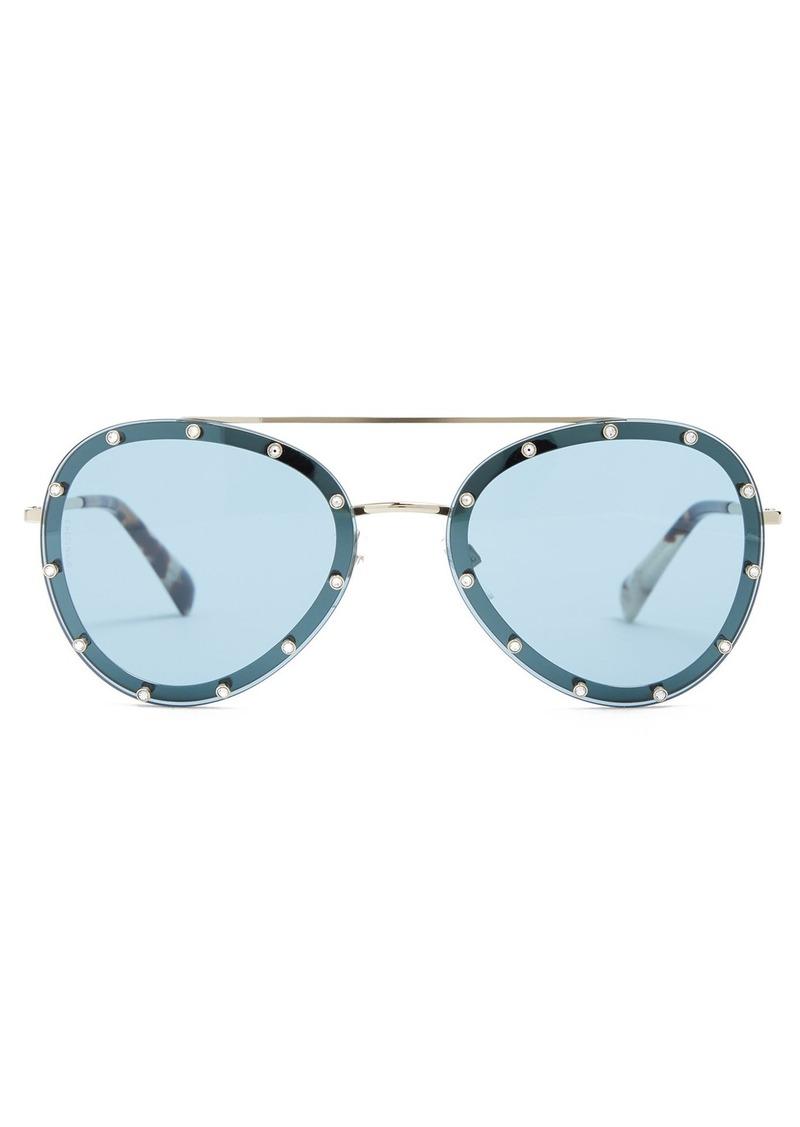 1acac2001c Valentino Valentino Crystal-embellished aviator metal sunglasses ...
