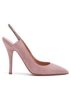 Valentino Crystal-embellished slingback suede pumps