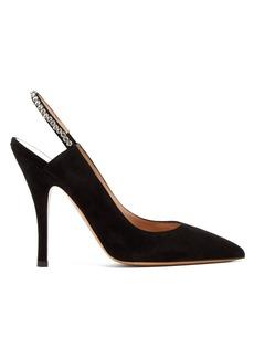 Valentino Crystal-embellished suede slingback heels