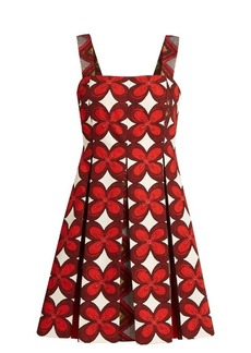 Valentino Cuban flower-print pleated mini dress