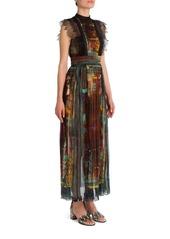 VALENTINO Cuban Forest Lace-Trim Cotton Dress