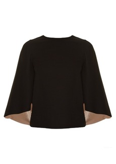 Valentino Cut-out back satin-lined cape top