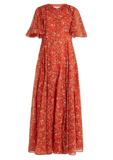 Valentino Cyber Flower-print fluted-sleeve silk gown