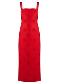 Valentino Daisy-appliqué sleeveless crepe midi dress
