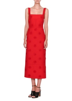 Valentino Daisy-Embellished Sleeveless Midi Dress