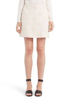 Valentino Daisy Embroidered Crepe Couture Skirt