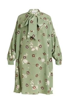 Valentino Daisy-print neck-tie silk crepe de Chine dress