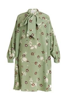 Valentino Daisy-print neck-tie silk crepe de Chine dress