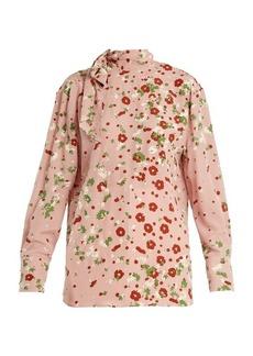 Valentino Daisy-print silk-crepe blouse